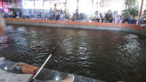 ベトナムのえび釣りレストラン