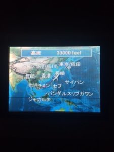 ANA機内の画面でフライトマップ