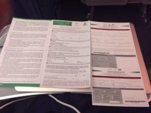 機内で出入国カードと税関申告書を記入
