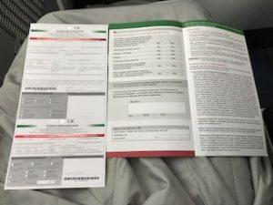 メキシコの入国書類が配布された
