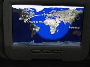 大西洋を横断したフライトルート画面