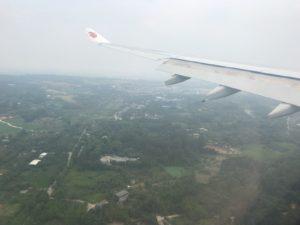 成都空港上空の着陸前