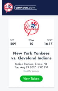 MLBの試合(ヤンキース戦)