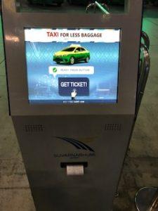 タクシーの乗車整理券が出てくる機械