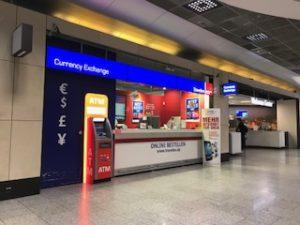 フランクフルト空港内にある両替所