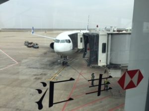 浦東空港に到着したANAのB767