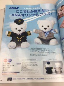 ANAで販売されている熊のぬいぐるみ