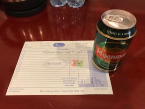 ミャンマービールと領収書