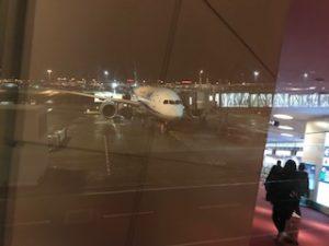 羽田空港に到着したANA機