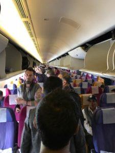 タイ国際航空の機内