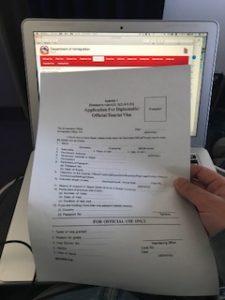 機内で渡されたVISAの書類