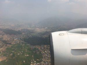 ネパールに到着前の上空写真