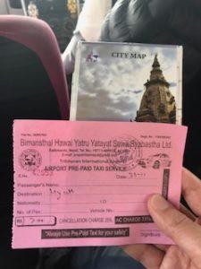 プリペイドタクシーのレシートとマップ