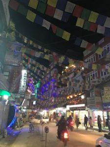 タメル地区は旗が多くて賑やかな雰囲気