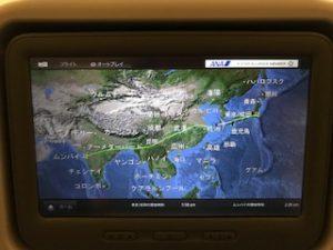 ムンバイ→成田のフライトマップ