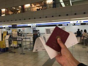 広島空港のANAチェックインカウンター