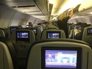 ユナイテッド航空の機内