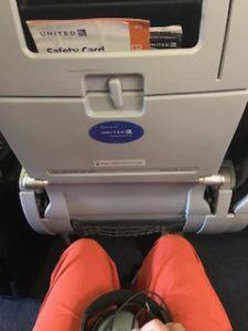 ユナイテッド航空のプレミアムエコノミー席