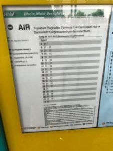 空港からダルムシュタットへのバス時刻表