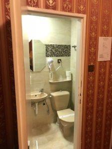 プラハのホテル室内の洗面所