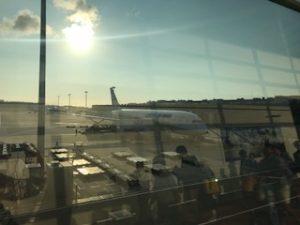 早朝の羽田空港に到着したANA機