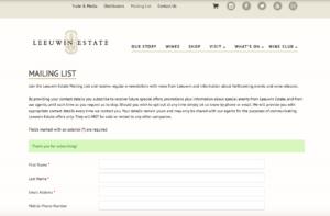 Leeuwin Estateのメーリングリスト登録