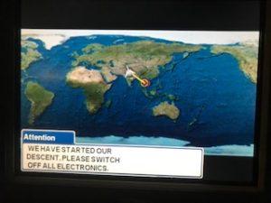タイからインドへのフライトマップ