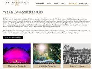 Leeuwin EstateのコンサートHP