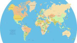 世界地図から国境を明確にする