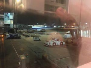 深夜の羽田空港でピーチの機体