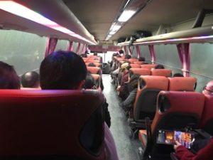 バスの座席を移動した後